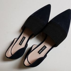 Navy Suede Nine West Flats
